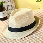 紳士帽 中老年帽子男士夏季亞麻草帽老人素面禮帽爸爸透氣爵士涼帽紳士帽 6色