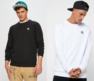 Adidas Sweatshirts 愛迪達 三葉草 男裝 休閒 大學T 長袖T恤 黑DV1600 白DV1599/澤米