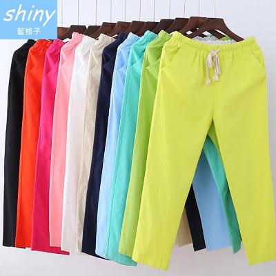 【V995】shiny藍格子-新品注目.棉麻鬆緊腰薄款休閒九分哈倫褲