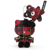 Sanrio HELLO KITTY蘇格蘭黑格紋系列造型玩偶吊鍊★funbox★_062634
