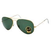 原廠公司貨【Ray-Ban 雷朋 太陽眼鏡】3026-L2846-62-經典飛官款太陽眼鏡(#金邊綠鏡面-大版)