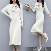 針織裙深依度春裝新款春秋裝春秋季時尚奢華長袖針織洋裝女 8956 快速出貨