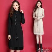秋冬新款女裝中長款洋裝長袖半高領針織打底衫過膝修身毛衣裙子 黛尼時尚精品