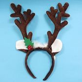 聖誕鹿角頭箍一袋12個入{促80} (咖啡色+白羽毛耳朵鈴噹.絨布面)/  鹿角頭飾