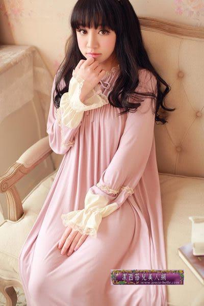 超舒服秋款莫代爾燈籠袖公主睡裙 袖口桑蠶絲用料家居服 親膚睡衣-high0020