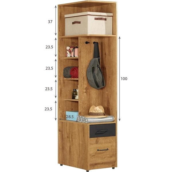 【森可家居】費利斯1.5尺二抽左桶衣櫥 8CM515-3 開放 衣櫃 木紋質感
