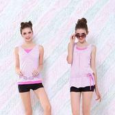 ★奧可那★輕便式粉紅條紋繫腰泳衣(圖右)
