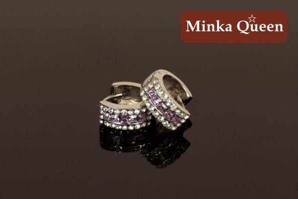 德國鈦鋼 紫色三排滿鑽造型 精緻水鑽、鋯石抗敏易扣耳環(一對)(14 mm)