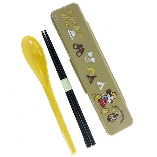 小禮堂 迪士尼 米奇 日製 塑膠餐具組 盒裝兩件式 筷匙組 環保餐具 (墨綠 露營) 4973307-49834