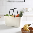購物籃手提塑料大容量買菜籃野餐菜籃子ins風超市手提籃 一米陽光