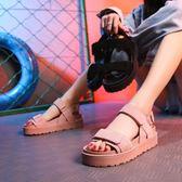 夏季新款涼鞋女平底百搭韓版學生鞋鬆糕厚底魔術貼軟妹涼鞋女 秘密盒子