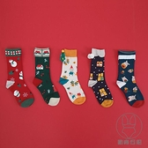 5雙裝 聖誕襪子男女情侶可愛卡通插畫中筒襪棉襪禮盒【貼身日記】