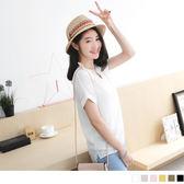 OrangeBear《AB2600》V領剪裁鏤空微性感美背反摺短袖上衣.6色--適 XL~5L