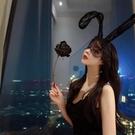 髮箍/髮圈 網紅主播髮卡黑色蕾絲性感兔女郎耳朵髮箍女網紗面罩可愛頭箍飾品