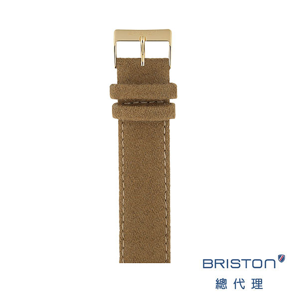 BRISTON 替換式法蘭絨錶帶 駝色 金扣