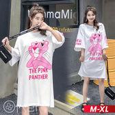 超寬鬆墨鏡粉紅豹圖案短袖開叉連衣裙 M-XL O-ker歐珂兒 165171