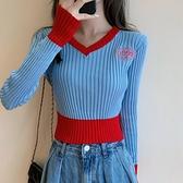 長袖毛衣 v領撞色高腰針織衫女秋長袖超短款露臍洋氣小毛衣潮 風馳