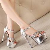 高跟鞋春夏新款超高跟涼鞋15cm防水臺魚嘴鞋性感細跟一字扣女鞋 貝兒鞋櫃