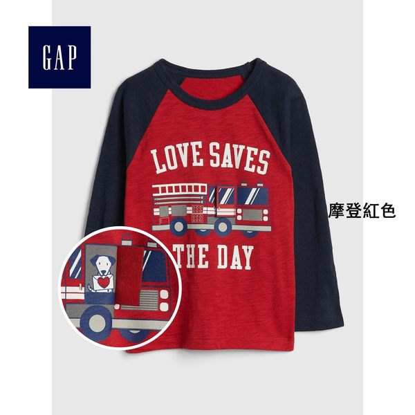 Gap男嬰幼童 妙趣圖案圓領長袖T恤 398266-摩登紅色