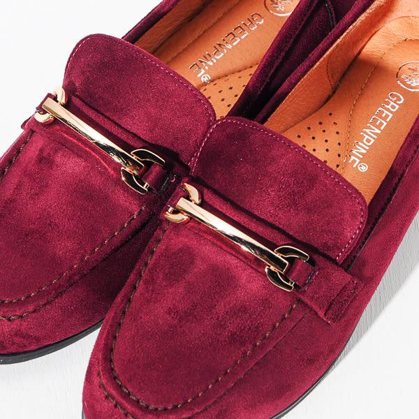 ★新品上市★GREEN PINE 英倫雅痞金屬扣樂福鞋-酒紅色