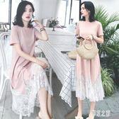 孕婦洋裝 新款蕾絲拼接中長款連身裙夏季女裝短袖T恤裙 DR20526【彩虹之家】