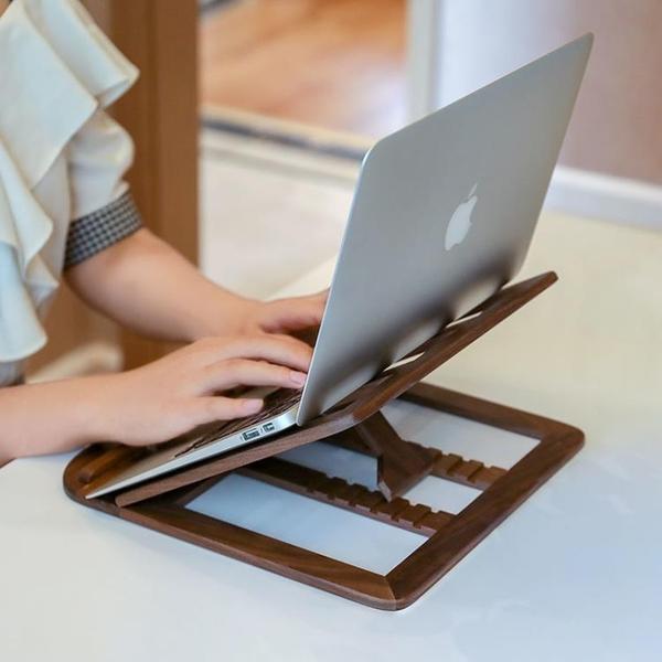 電腦支架 筆記本電腦木質折疊立式支架便攜平板迷你托架桌面升降增高散熱架