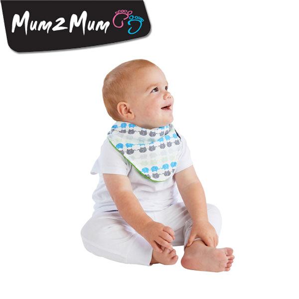 紐西蘭 MUM 2 MUM 雙面時尚造型口水巾圍兜 小象萊姆綠