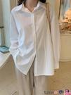 熱賣垂感襯衫 白色襯衫女設計垂感夏天復古港味藍色襯衣白上衣夏淺綠色 coco