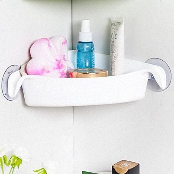 多用浴室強力吸盤三角置物架 廁所轉角收納架 廚房儲物架-白色【魔小物】「現貨1」