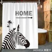 北歐衛浴加厚防霉不透明洗澡浴簾浴室隔斷簾防水布遮光免打孔掛簾 莫妮卡小屋