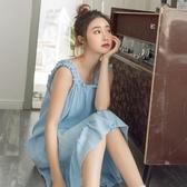 睡裙 純棉吊帶睡裙女夏小仙女風無袖睡衣連衣裙子