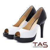 【↘5折】 TAS 經典雙色拼接魚口高跟鞋-優雅白