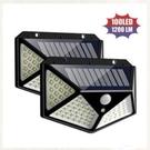 12h快速出貨 新兩件裝專供戶外庭院燈100LED太陽能充電壁燈四面發光人體感應燈