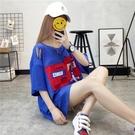 韓版寬鬆學生中長款寬鬆百搭BF風破洞短袖...