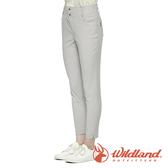 【wildland 荒野】女 彈性抗UV合身收腹九分褲『白卡其』0A81315 戶外 休閒 運動 露營 登山 騎車