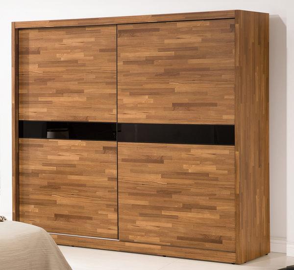 【森可家居】巴菲特7x7尺推門衣櫃 7ZX200-4 衣櫥 木紋質感 左右拉門 北歐工業風