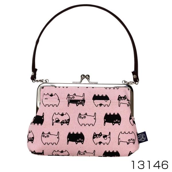 【日本製】 貓帆布系列 手提式口金包 貓咪三兄弟圖案 粉色 SD-7060 - 日本製 貓帆布系列