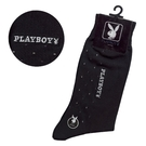 PLAYBOY點點刺繡LOGO紳士襪(黑色)990063-3
