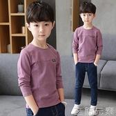 男童長袖T恤新款春秋裝季兒童上衣中大童體恤圓領套頭韓版潮 至簡元素