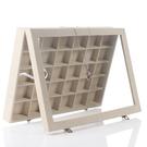 全絨木質帶蓋大號珠箱30格耳環戒指飾品分類展示盤首飾收納盒