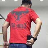 新款t恤男本命年短袖ins潮韓i牛頭印花圓領T恤男社會小夥修身上衣