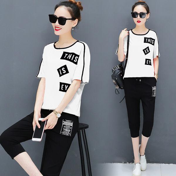 VK旗艦店 韓國風時尚貼布字母拼接短袖七分褲運動套裝短袖褲裝