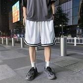 運動跑步短褲男五分褲休閒寬鬆速干網眼沙灘籃球褲【小酒窩】