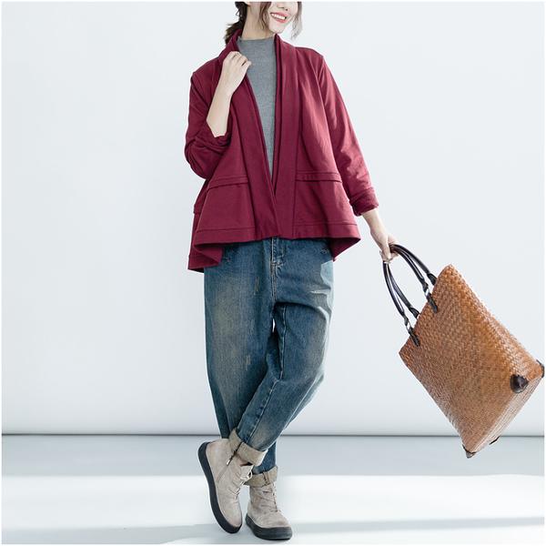外套 - Q2725 簡約紅開襟罩衫外套【加大F】MEET中大尺碼
