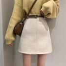 毛呢短裙 網紅氣質短裙秋冬年新款時尚毛呢半身裙女學生顯瘦高腰A字裙