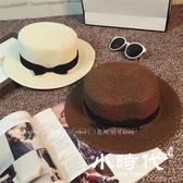 遮陽帽 正韓草帽女夏天英倫復古平頂小清新禮帽遮陽防曬沙灘帽子出游潮夏
