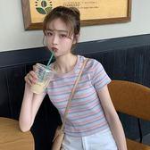 條紋T恤韓版百搭彩色條紋修身短款T恤內搭外穿打底衫上衣女