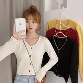 針織打底衫 秋裝2020新款韓版修身顯瘦V領長袖針織衫女士毛衣短款打底衫上衣-米蘭街頭