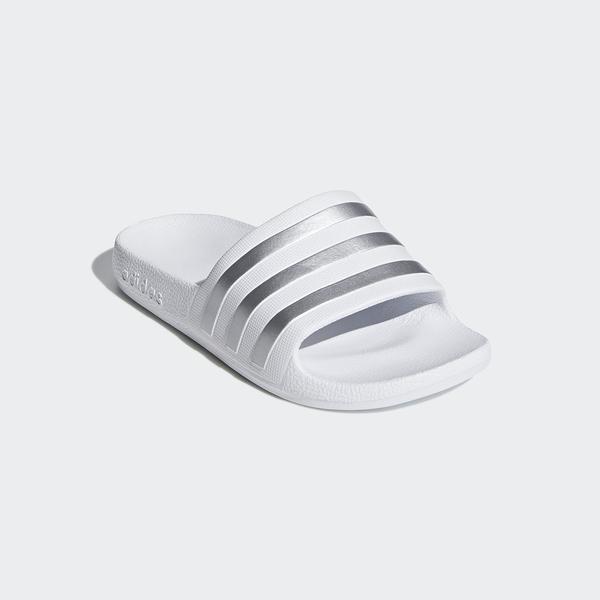 Adidas ADILETTE AQUA中大童款白色防水運動拖鞋-NO.F35555