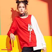 【SHOWCASE】不規則襬綁帶袖拼色個性上衣(紅白)